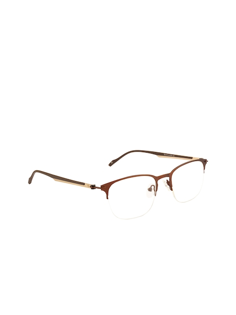 Ted Smith Unisex Brown Solid Half Rim Browline Frames TS-245_C5
