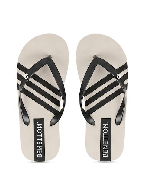 United Colors of Benetton Men Grey & Black Striped Thong Flip-Flops