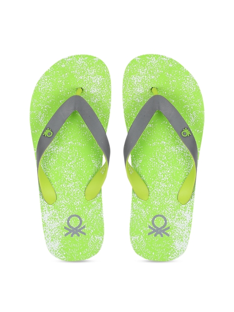United Colors of Benetton Men Lime Green & Grey Printed Thong Flip-Flops