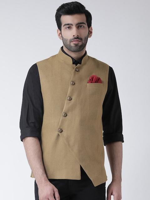 Kisah Men Beige Solid Nehru Jacket