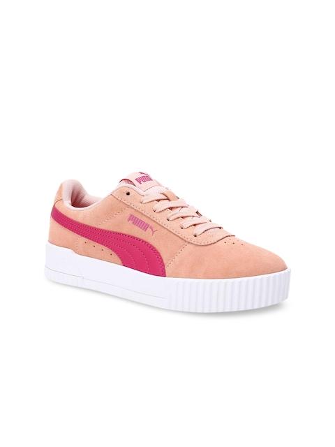 Puma Girls Peach-Coloured Carina Jr Sneakers