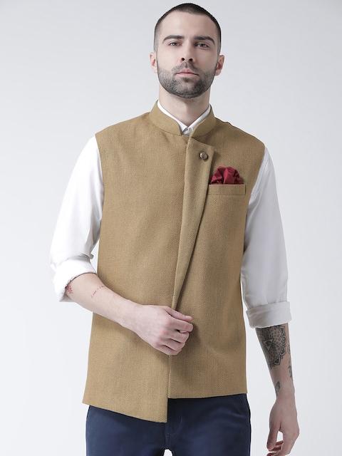 Kisah Men Beige Woven Design Nehru Jackets