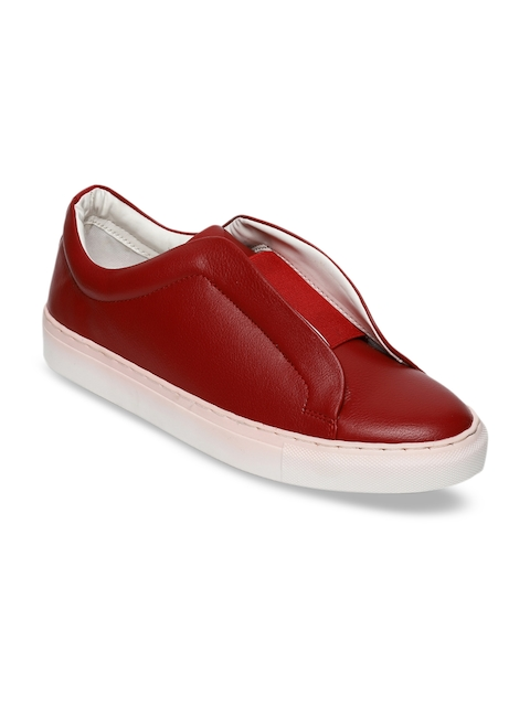Blue Saint Men Red Slip-On Sneakers