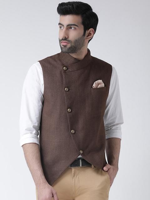 Kisah Men Brown Solid Nehru Jackets