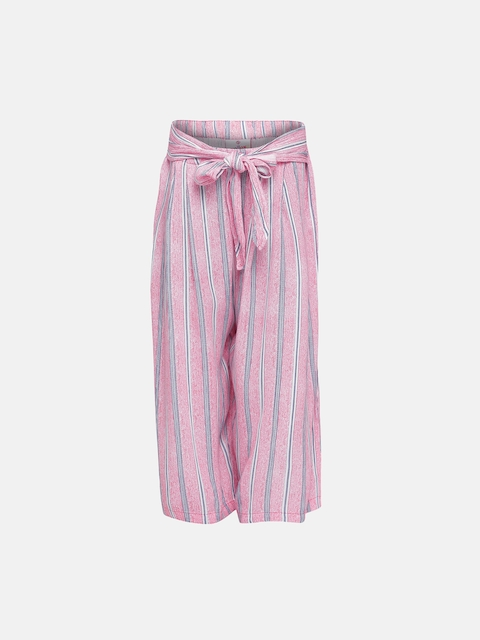Oxolloxo Girls Pink Regular Fit Striped Parallel Trousers