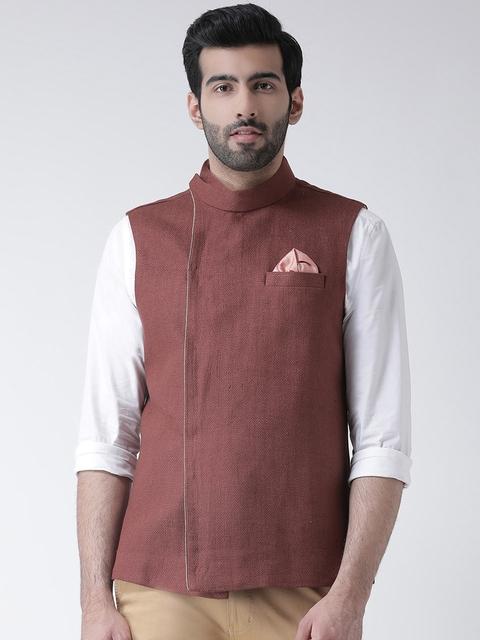 Kisah Men Rust Red Solid Nehru Jackets