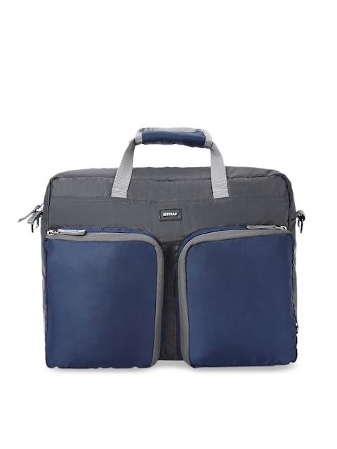 2 STRAP Unisex Grey & Navy Blue Colourblocked Messenger Bag