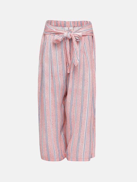 Oxolloxo Girls Peach-Coloured Regular Fit Striped Parallel Trousers