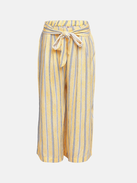 Oxolloxo Girls Yellow Regular Fit Striped Parallel Trousers