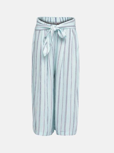 Oxolloxo Girls Green & Blue Regular Fit Striped Regular Trousers