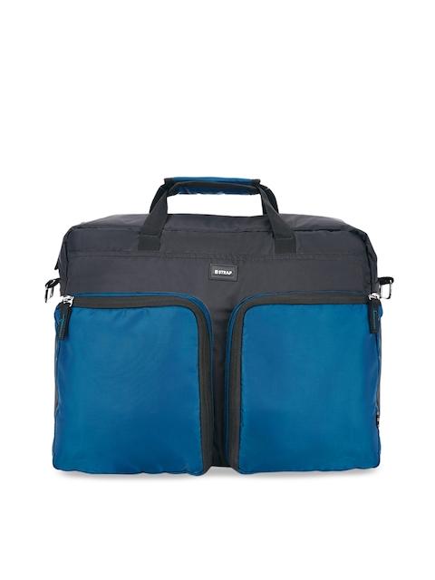 2 STRAP Unisex Black & Teal Colourblocked Laptop Bag