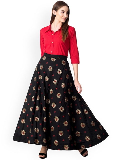 Khushal K Women Red & Black Solid Top with Skirt