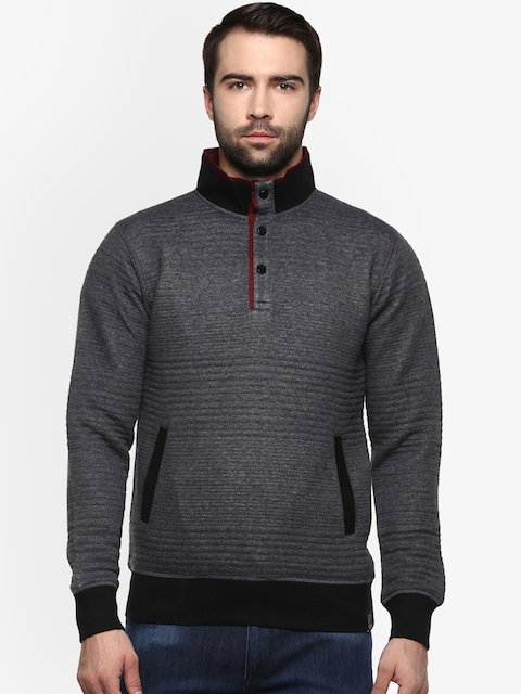 AXMANN Men Grey Solid Sweatshirt
