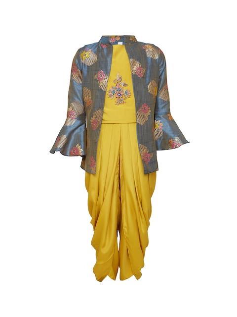 BETTY Girls Mustard & Grey Self Design Top with Dhoti Pants
