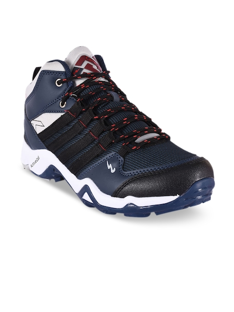 Campus Men Navy Blue Mesh Mid-Top Running Shoes