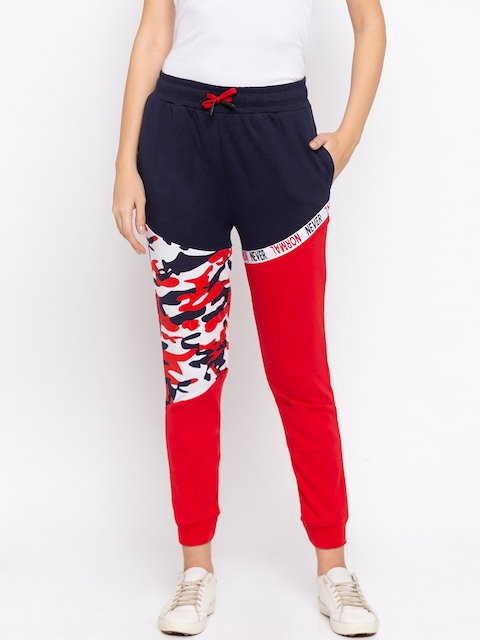 Disrupt Women Red & Navy Blue Colourblocked Straight-Fit Joggers