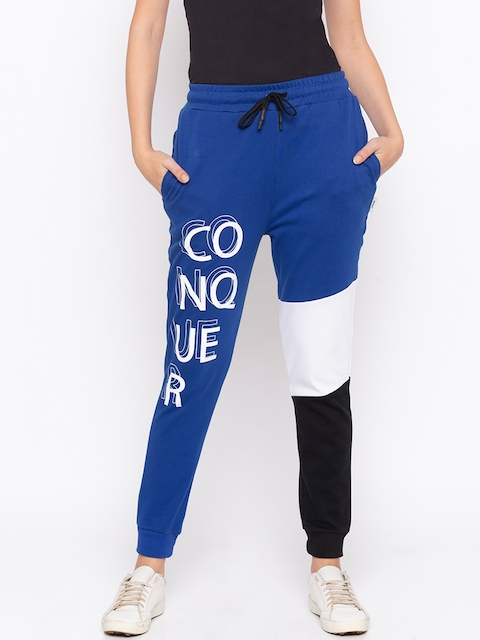 Disrupt Women Blue Colourblocked Straight-Fit Joggers
