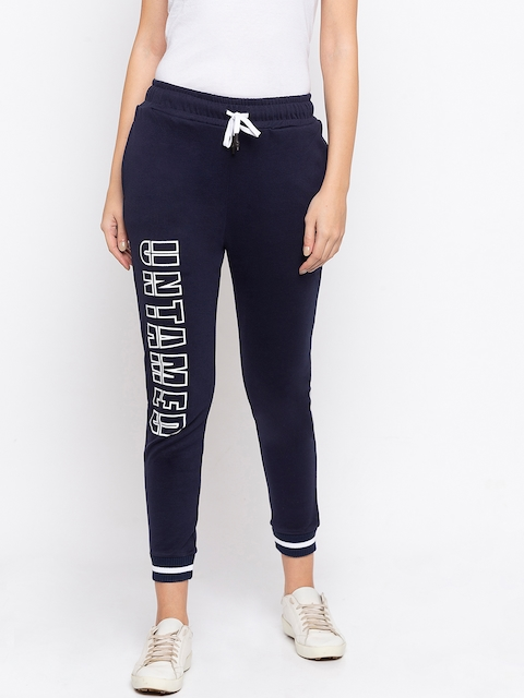 Disrupt Women Navy Blue Printed Straight-Fit Joggers
