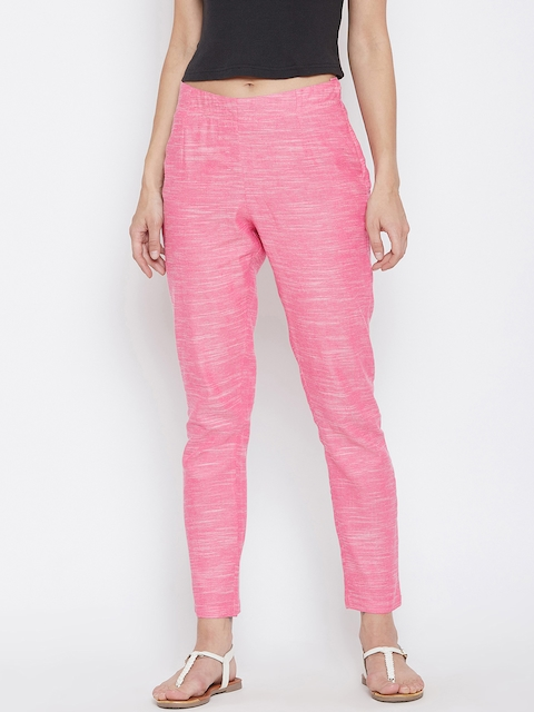 Ruhaans Women Pink Smart Regular Fit Solid Cigarette Trousers
