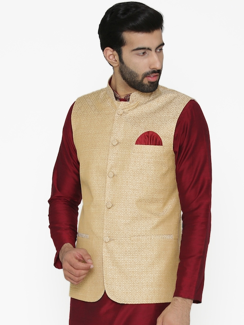 Wintage Men Beige Woven Design Nehru Jacket
