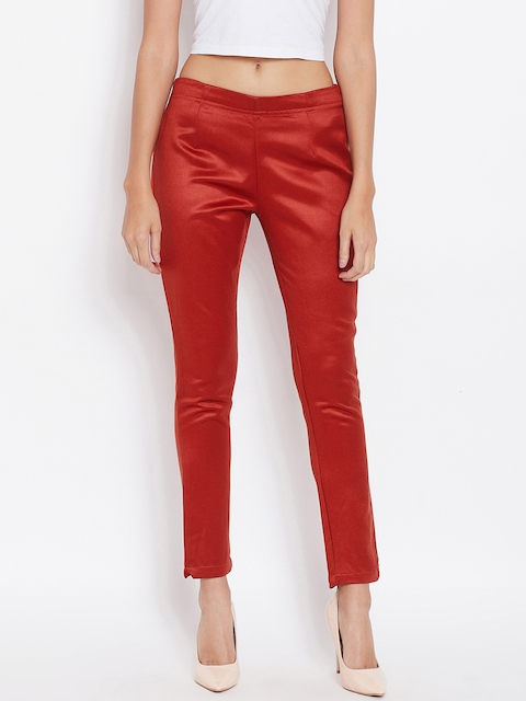 Ruhaans Women Red Smart Regular Fit Solid Cigarette Trousers
