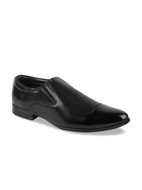 FAUSTO Men Black Formal Slip On Shoes