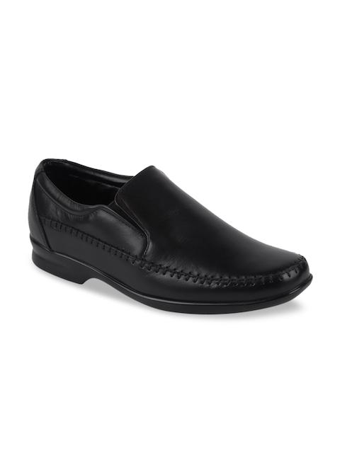 Fausto Men Black Leather Formal Slip-Ons