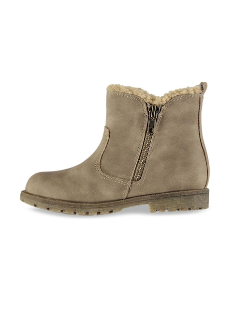 Miso Girls Taupe Solid Mid-Top Flat Boots