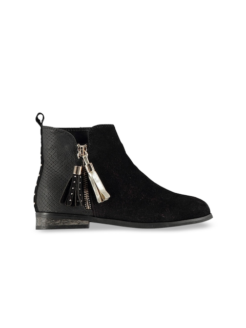 Miso Girls Black Solid Synthetic Mid-Top Flat Boots