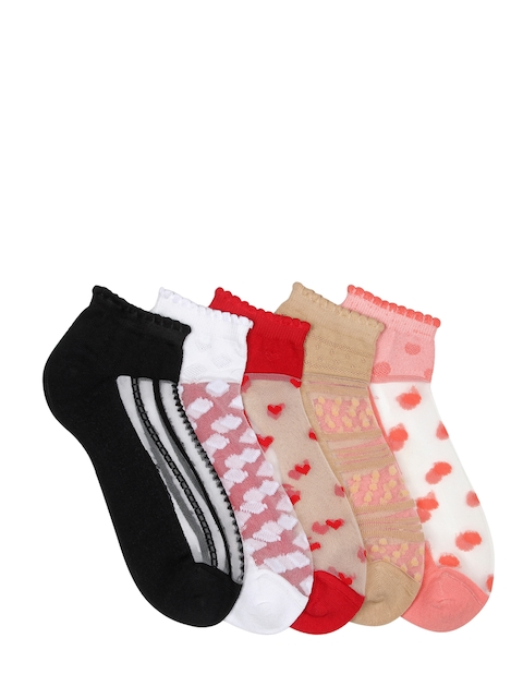 Supersox Women Pack of 5 Assorted Patterned Ankle-Length Socks
