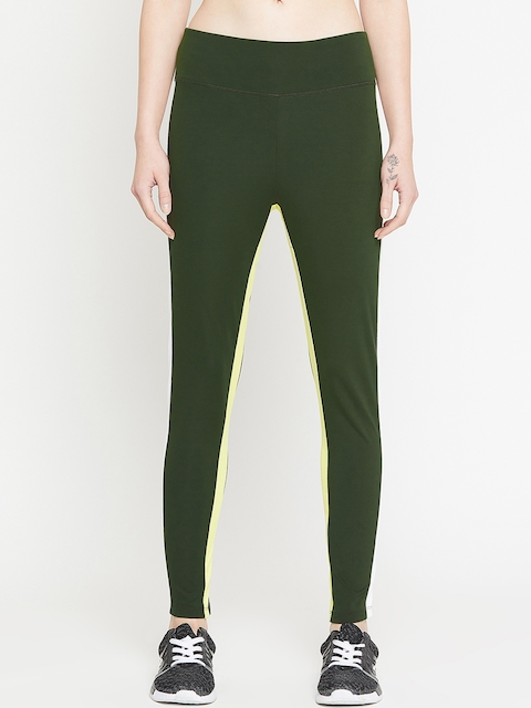 PERFKT-U Women Olive Green Solid Track Pant
