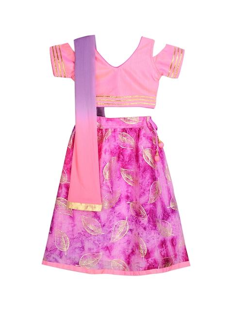 KID1 Pink Ready to Wear Lehenga & Blouse with Dupatta