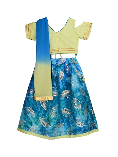 KID1 Girls Lime Green & Blue Solid Ready to Wear Lehenga & Blouse with Dupatta