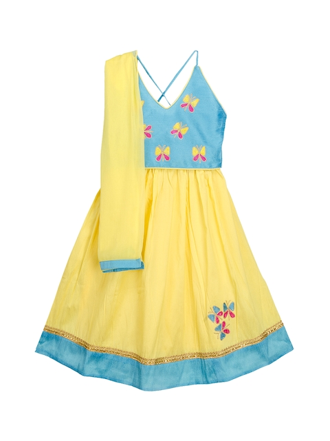 KID1 Girls Yellow & Blue Embroidered Ready to Wear Lehenga & Blouse with Dupatta