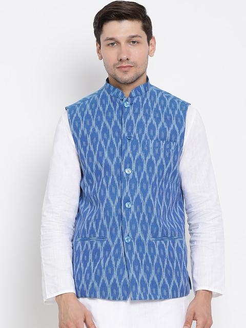 VASTRAMAY Men Blue Woven Design Nehru Jacket