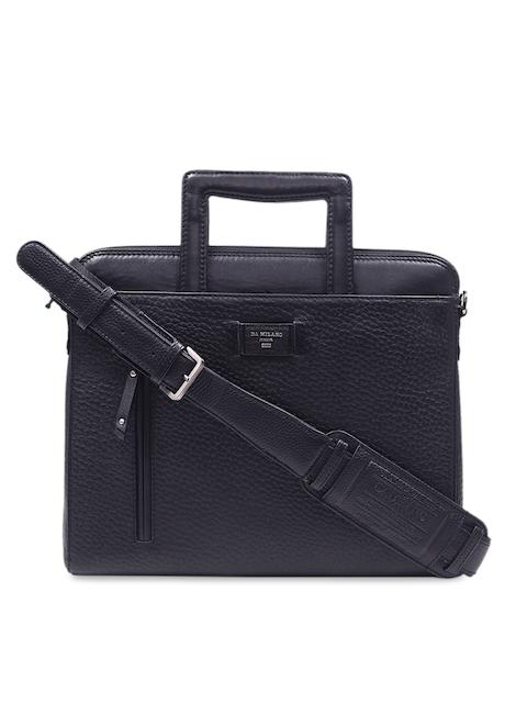 Da Milano Men Blue Textured Leather Laptop Sleeve