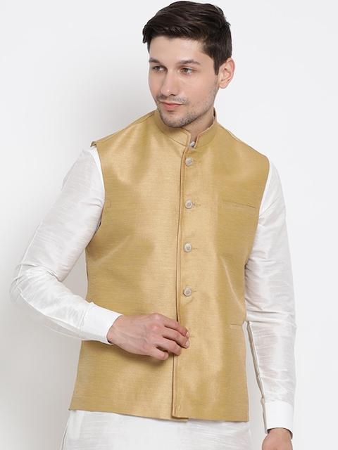 VASTRAMAY Men Beige Solid Nehru Jacket
