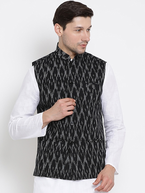 VASTRAMAY Men Black Woven Design Nehru Jacket