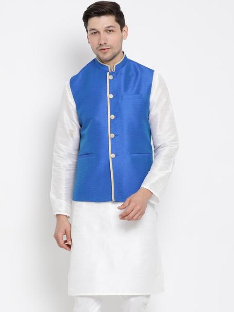 VASTRAMAY Men Blue Solid Nehru Jacket