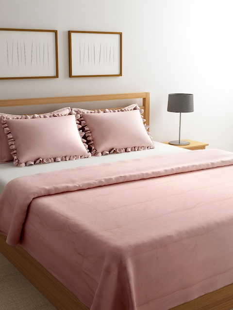 Portico New York Pink Solid Double Bed Duvet Cover