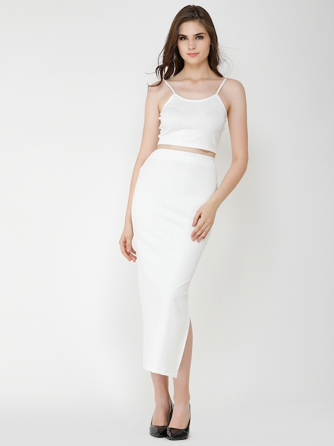 Cation Women White Solid Top with Skirt