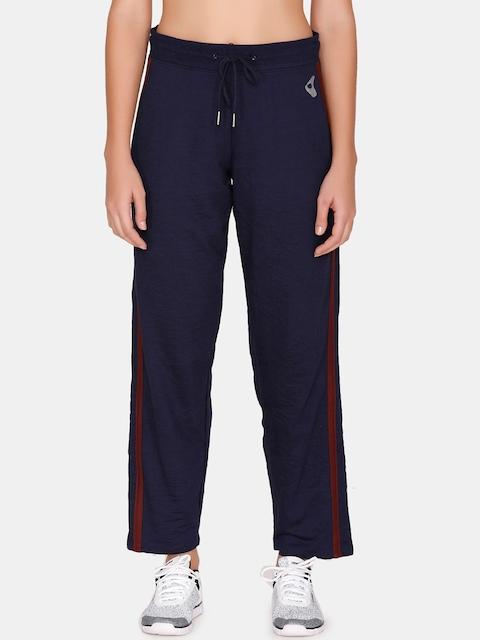 Zelocity Women Blue Solid Regular-Fit Track Pants
