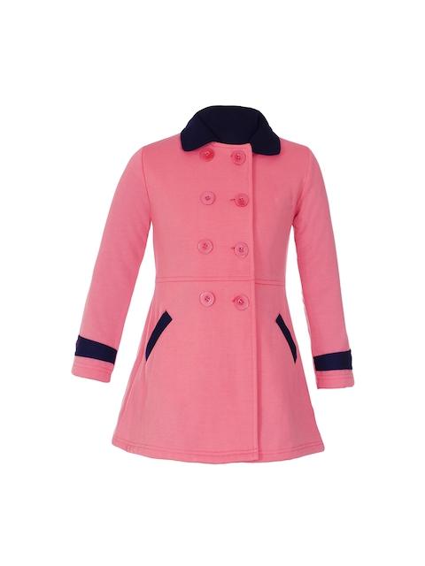 naughty ninos Girls Pink Solid Pea Coat