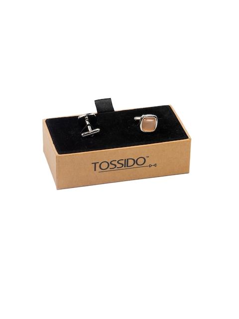 Tossido Beige Embellished Square Cufflinks