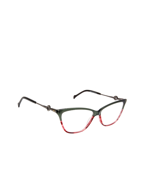 David Blake Women Dark Green & Red Colourblocked Full Rim Cateye Frames EWDB1685