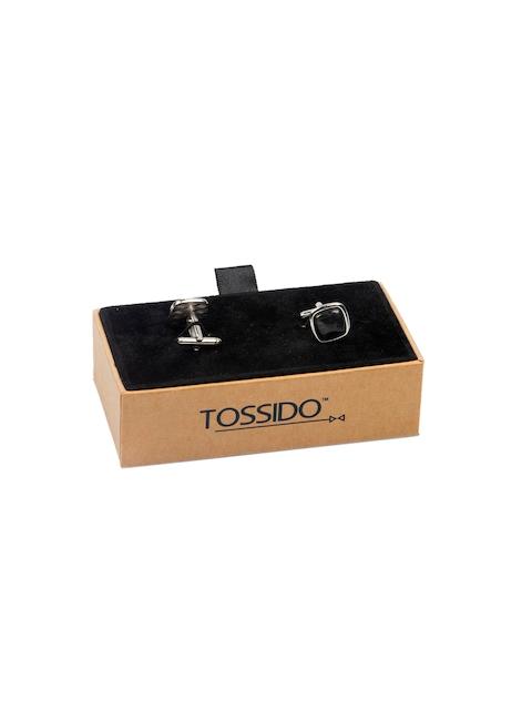 Tossido Black Embellished Square Cufflinks