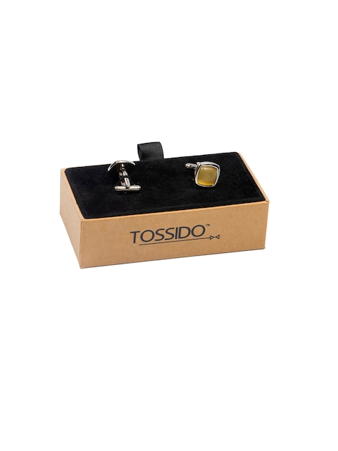 Tossido Yellow Embellished Square Cufflinks