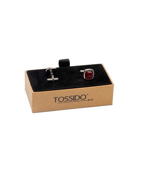 Tossido Maroon Embellished Square Cufflinks