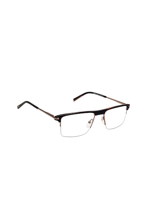 David Blake Unisex Black & Brown Solid Half Rim Rectangle Frames EWDB1708