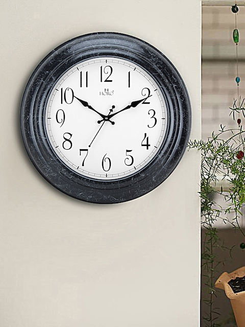 Horo White Hand-Painted Geometric Solid Analogue Wall Clock (30.48 cm x 30.48 cm)